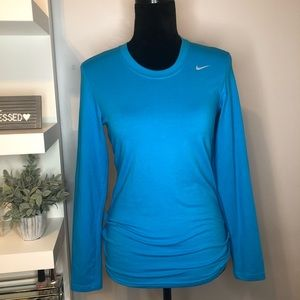 NIKE Dry Fit Long Sleeve Blue T-Shirt With Logo